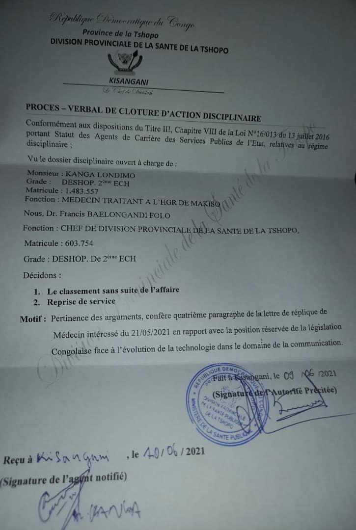 Kisangani : le CD de la santé lève la mesure de suspension contre le Dr Mateus Kanga Londimo